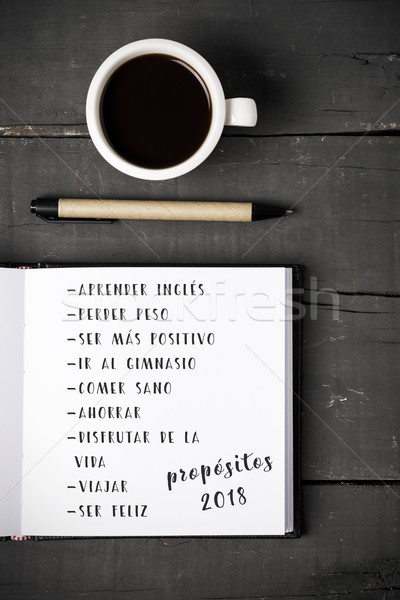 propositos 2018, resolutions for 2018 in spanish Stock photo © nito