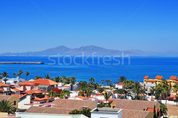 Lobos Island from Corralejo in Fuerteventura, Canary Islands, Sp Stock photo © nito