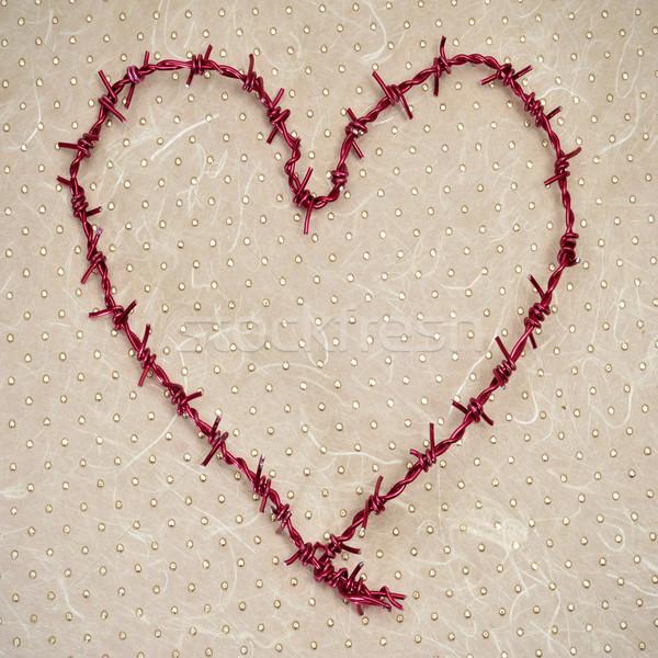 Drutu kolczastego podpisania czerwony wzór więzienia romans Zdjęcia stock © nito