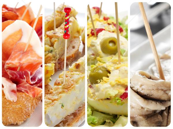 Spaans tapas collage verschillend tortilla gevuld Stockfoto © nito