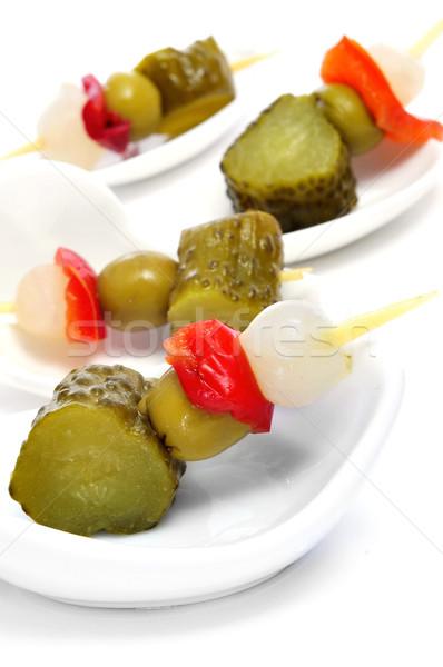 испанский соленья различный оливками чеснока огурцы Сток-фото © nito