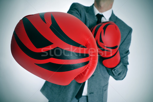 man in suit with boxing gloves Stock photo © nito