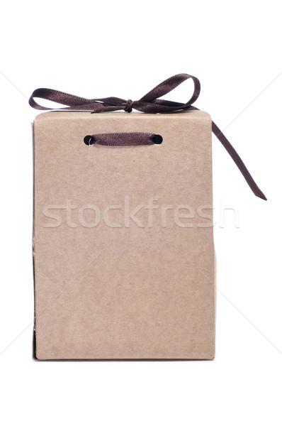 Ajándék közelkép fehér papír születésnap háttér Stock fotó © nito