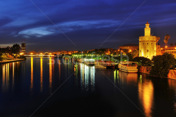 Guadalquivir River and the Torre del Oro, in Seville, Spain at n Stock photo © nito