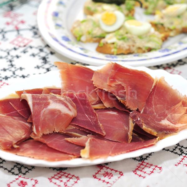 Spaans serrano ham plaat ander Stockfoto © nito