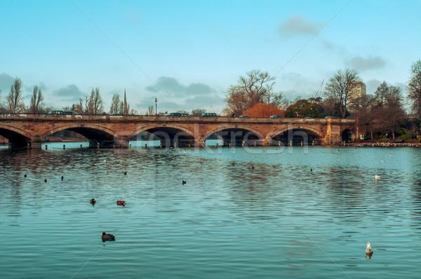 Nehir park Londra Büyük Britanya yüzmek köprü Stok fotoğraf © nito