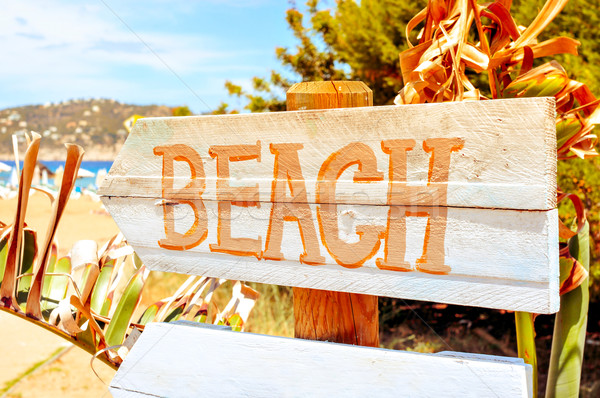 signpost pointing to the beach in Ibiza Island, Spain, with a fi Stock photo © nito