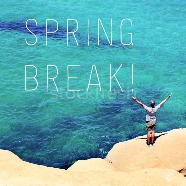 Férfi karok levegő szöveg tavaszi szünet fiatalember Stock fotó © nito