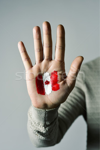 man with the flag of Canada Stock photo © nito