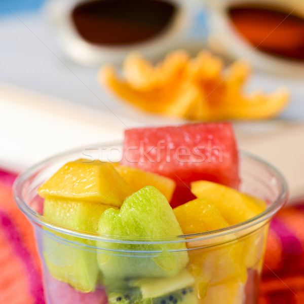 Vruchtensalade zonnebril boek zeester plastic Stockfoto © nito