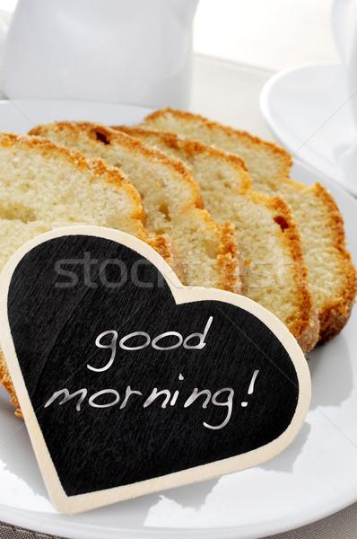 Sabah iyi plaka dilimleri tahta metin Stok fotoğraf © nito