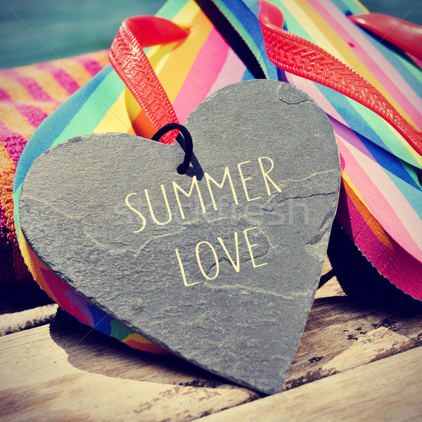 colorful flip-flops and text summer love, slight vignette added Stock photo © nito