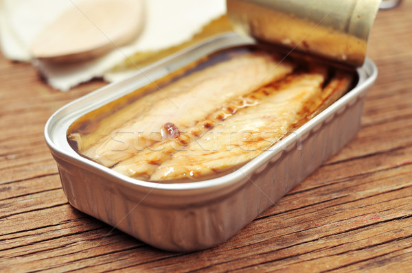 open can of canned mackerel Stock photo © nito