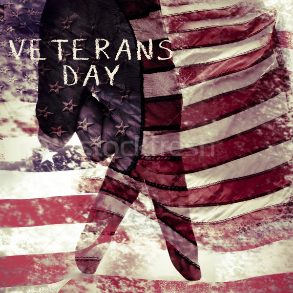 text veterans day and flag of the US, double exposure Stock photo © nito