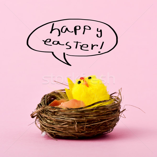 teddy chick and text happy easter Stock photo © nito