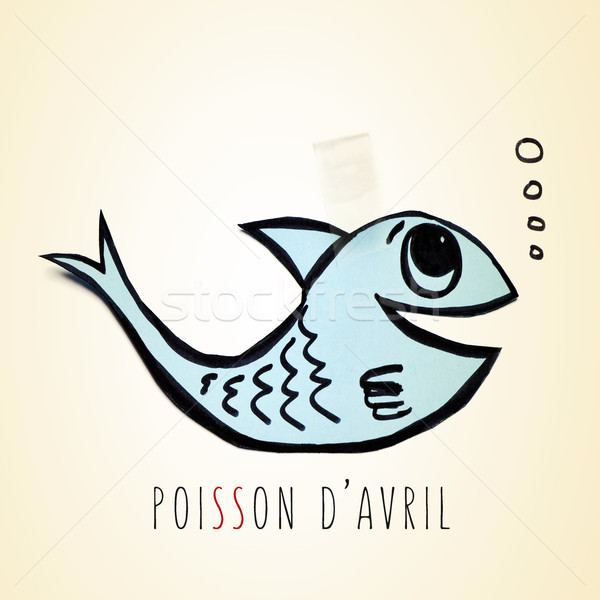 paper fish and text poisson d avril, april fools day in french Stock photo © nito