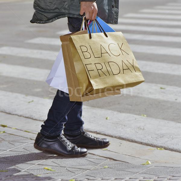 человека сумку текста черная пятница молодые Сток-фото © nito