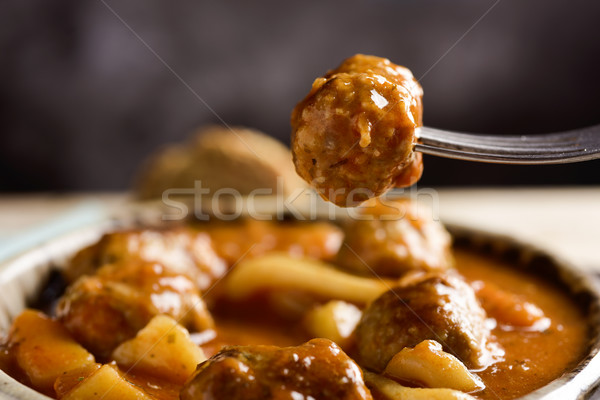 spanish albondigas con sepia, meatballs with cuttlefish Stock photo © nito
