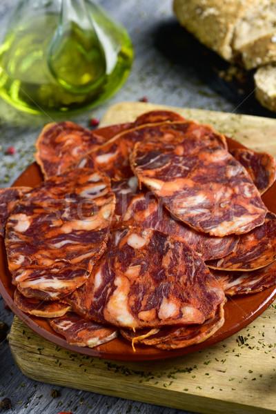 Ломтики испанский чоризо пластина свинина Сток-фото © nito