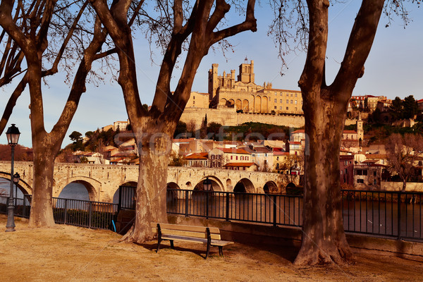 Orb River and Old Town of Beziers, France Stock photo © nito
