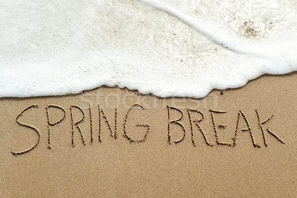 Szöveg tavaszi szünet homok tengerpart közelkép írott Stock fotó © nito