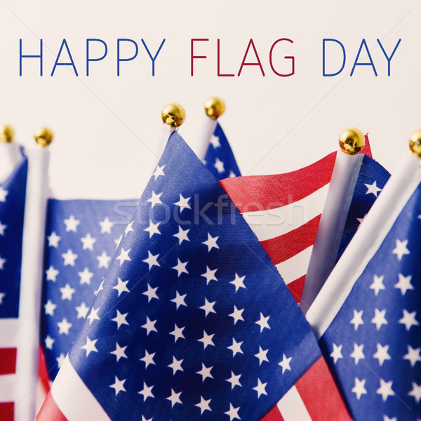 text happy flag day and american flag Stock photo © nito