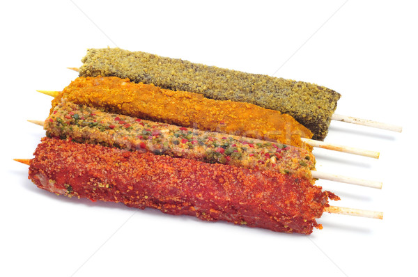 turkish spiced chicken meat skewers Stock photo © nito
