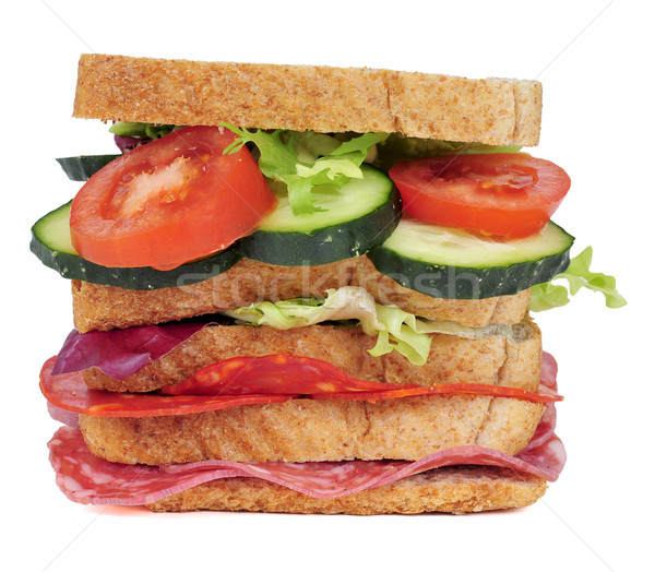 sandwich with vegetables and spanish chorizo and salchichon Stock photo © nito