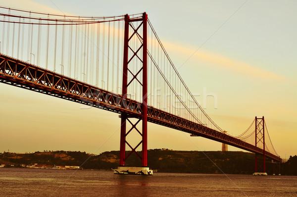25 de Abril Bridge in Lisbon, Portugal, with a filter effect Stock photo © nito
