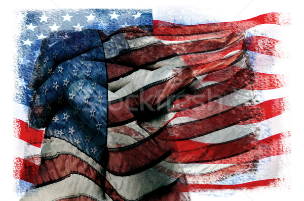 Többszörös zászló Egyesült Államok Amerika különböző képek Stock fotó © nito