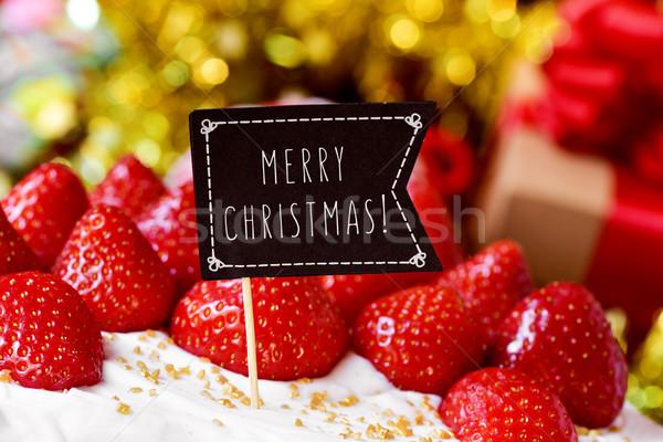 Karácsony torta szöveg vidám közelkép fekete Stock fotó © nito