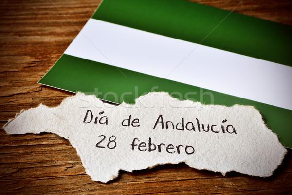 Szöveg Andalúzia nap Spanyolország darab papír Stock fotó © nito