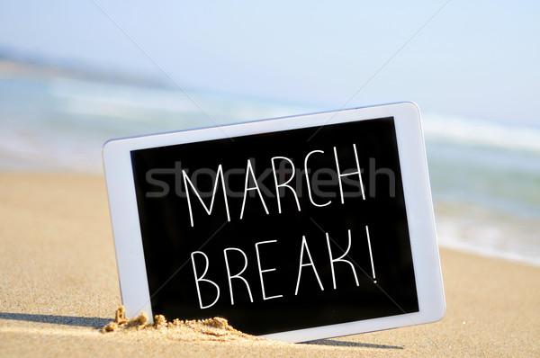 Stock fotó: Szöveg · törik · táblagép · tengerpart · írott · homok