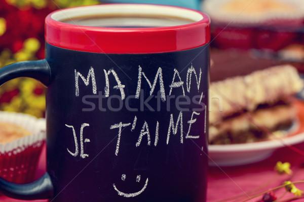 Foto stock: Desayuno · texto · amor · mamá · francés