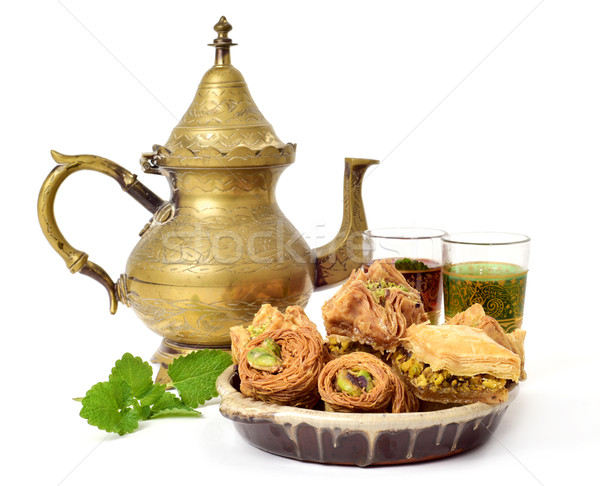 tea and assorted baklava pastries Stock photo © nito