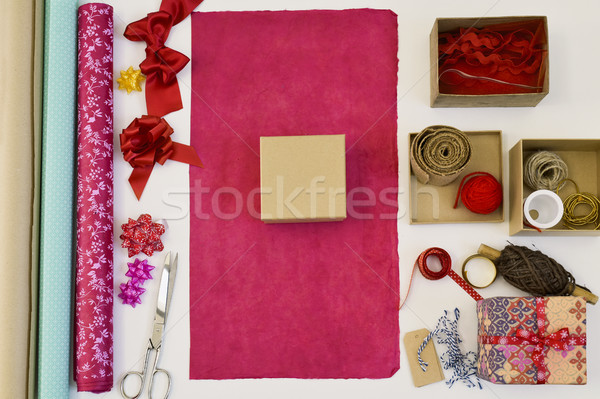 Papier d'emballage cases coup blanche table Photo stock © nito