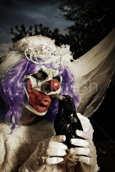 scary evil clown in a bride dress Stock photo © nito