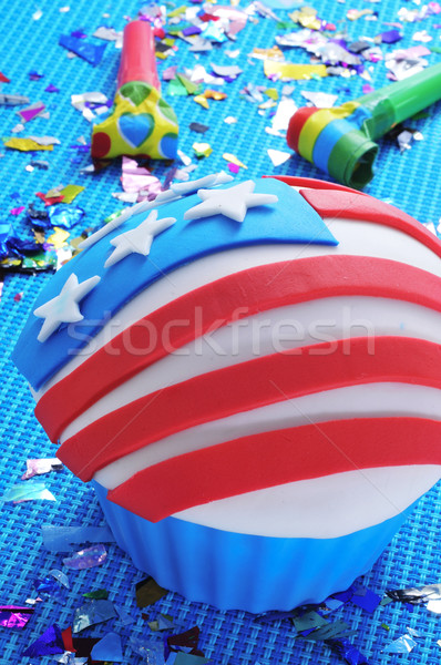 cupcake decorated with the american flag Stock photo © nito