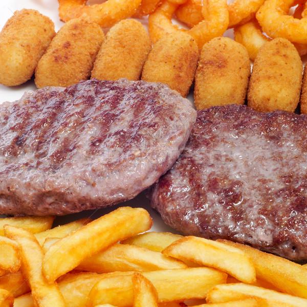 Spanyol kombináció közelkép sültkrumpli szakács eszik Stock fotó © nito