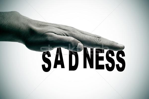Tristeza homem mão escrito preto fundo Foto stock © nito