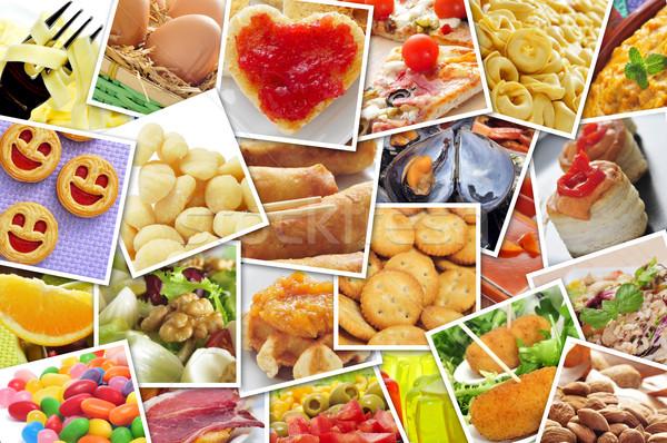 Képek különböző étel lövés fal mozaik Stock fotó © nito