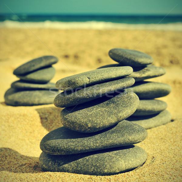Pedras praia retro efeito água mar Foto stock © nito