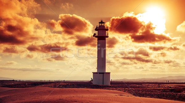 lighthouse at El Fangar, in the Ebro Delta, in Spain Stock photo © nito