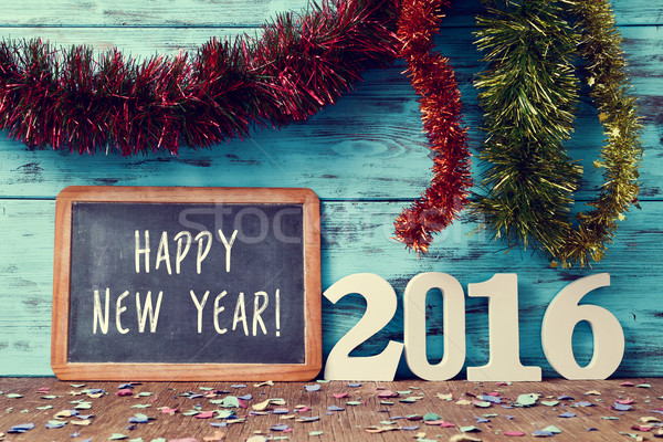 confetti, tinsel and text happy new year 2016 Stock photo © nito