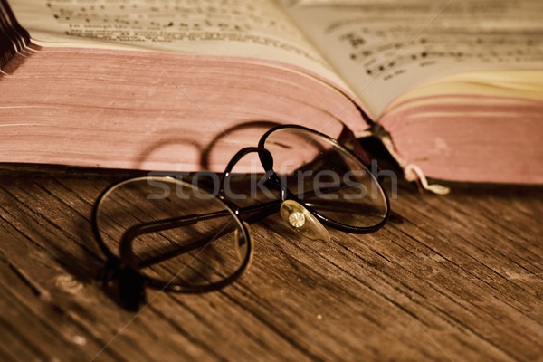 old eyeglasses and books, filtered Stock photo © nito