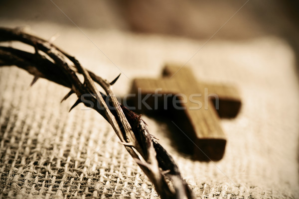 wooden cross and the crown of thorns of Jesus Christ Stock photo © nito