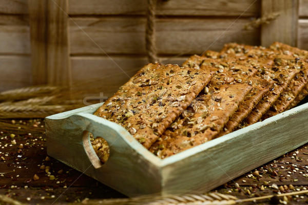 brown crackers topped with seeds Stock photo © nito
