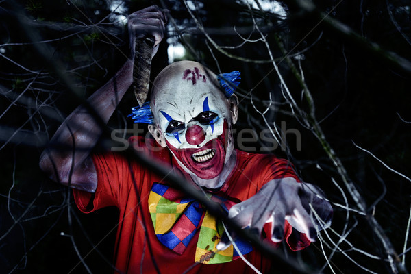 scary evil clown wielding a knife in the woods Stock photo © nito