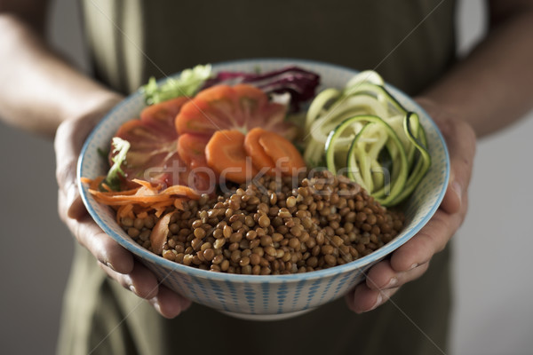 young man with a buddha bowl Stock photo © nito