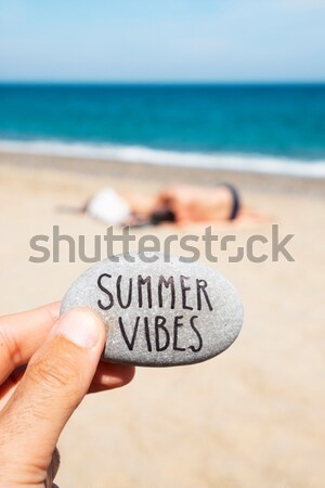 man on the beach and text relax Stock photo © nito